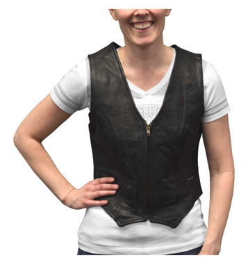 Redline Leather Women's Zip Front Leather Motorcycle Riding Vest, Black LEV-222 - Wisconsin Harley-Davidson