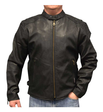 Redline Men's Distressed Leather Touring Motorcycle Jacket w/ Liner, Black M-600 - Wisconsin Harley-Davidson