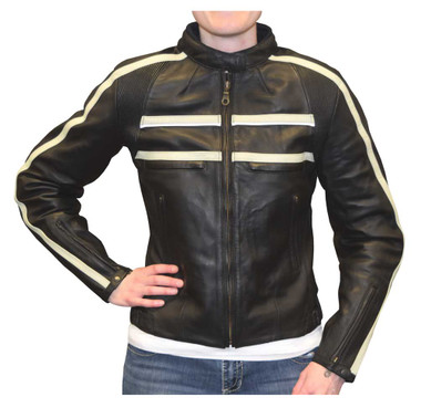 Redline Women's Naked Goat Skin Striped Racing Jacket, Black & White L-2402 - Wisconsin Harley-Davidson