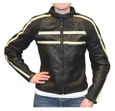 Redline Women's Naked Goat Skin Striped Racing Jacket, Black & White L-2402 - Wisconsin Harley-Davidson