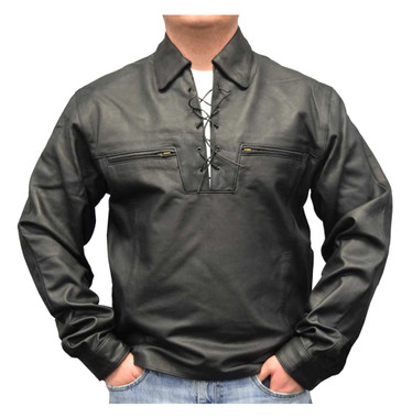 Redline Men's Lightweight Lace Up Front Leather Riding Shirt, Black M-1900 - Wisconsin Harley-Davidson