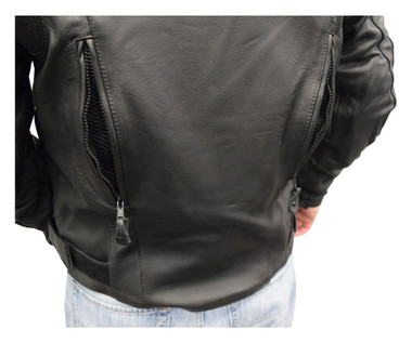 Redline Men's Cowhide Leather Reflective Piping Jacket, Black & White M-TOURING - Wisconsin Harley-Davidson