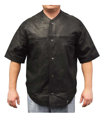 Redline Men's Perforated Soft Goat Skin Leather Short Sleeve Snap Jacket M-1850 - Wisconsin Harley-Davidson