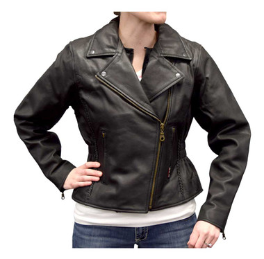 Redline Women's Mid-Weight Goat Leather Jacket w/ Gator Skin Liner L-3150GS - Wisconsin Harley-Davidson