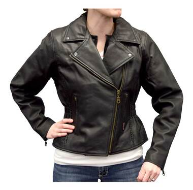 Redline Women's Mid-Weight Goat Leather Jacket w/ Gator Skin Liner L-3150GS - Wisconsin Harley-Davidson