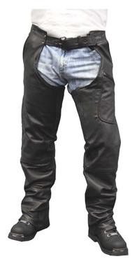 Redline Men's Heavy Weight Black Buffalo Leather Motorcycle Chaps M-1700 - Wisconsin Harley-Davidson