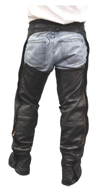 Redline Men's Heavy Weight Black Buffalo Leather Motorcycle Chaps M-1700 - Wisconsin Harley-Davidson