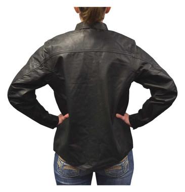 Redline Women's Lightweight Snap Down Collar Leather Riding Shirt, Black L-1800 - Wisconsin Harley-Davidson
