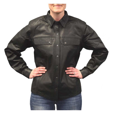 Redline Women's Lightweight Snap Down Collar Leather Riding Shirt, Black L-1800 - Wisconsin Harley-Davidson