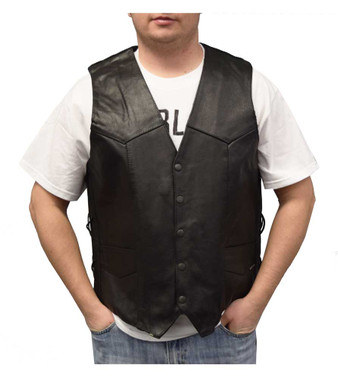 Redline Leather Men's Side Lace Motorcycle Leather Riding Leather Vest M-2265 - Wisconsin Harley-Davidson