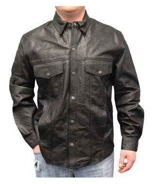 Redline Men's Lightweight Snap Down Collar Leather Riding Shirt, Black M-1800 - Wisconsin Harley-Davidson