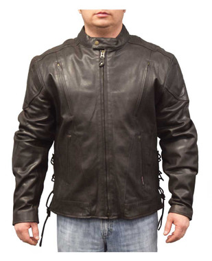 Redline Men's Leather Touring Side-Lace Motorcycle Jacket, Brown M-400-BROWN - Wisconsin Harley-Davidson