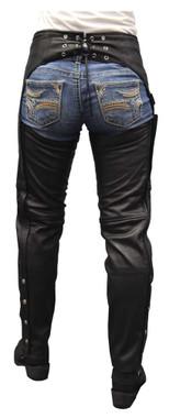 Redline Women's Classic Cut Goat Leather Motorcycle Chap Pant, Black L-3800 - Wisconsin Harley-Davidson