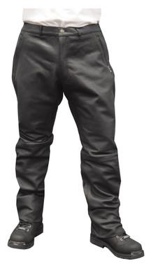 Redline Men's Black Side Angle Zip Pockets Leather Motorcycle Lined Pants M-1550 - Wisconsin Harley-Davidson
