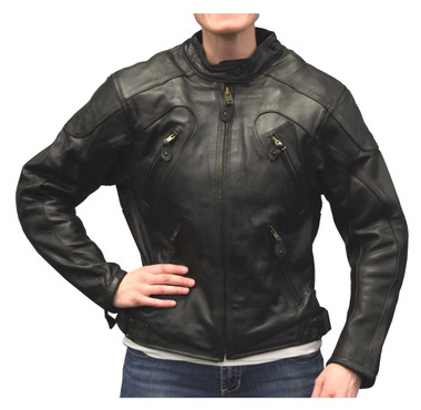 Redline Women's Goat Skin Leather w/ Removable Armor Motorcycle Jacket L-36 - Wisconsin Harley-Davidson