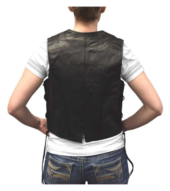 Redline Leather Women's Side Lace Goat Leather Motorcycle Vest, Black L-11 - Wisconsin Harley-Davidson