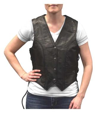 Redline Leather Women's Side Lace Goat Leather Motorcycle Vest, Black L-11 - Wisconsin Harley-Davidson