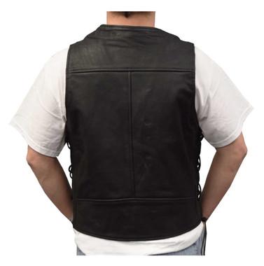Redline Leather Men's Leather Side Laces Motorcycle Riding Vest, Black M-2200 - Wisconsin Harley-Davidson