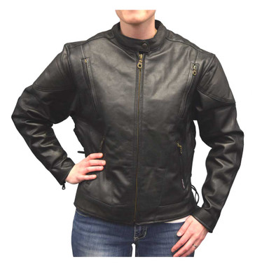 Redline Women's Midweight Goat Leather Quilted Waist Affect Jacket, Black L-3100 - Wisconsin Harley-Davidson