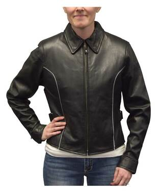 Redline Women's Goat Skin Leather Reflective Piping Motorcycle Jacket L-3250HV - Wisconsin Harley-Davidson