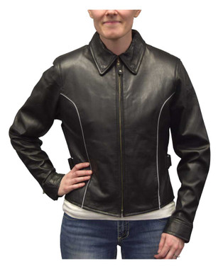 Redline Women's Goat Skin Leather Reflective Piping Motorcycle Jacket L-3250HV - Wisconsin Harley-Davidson