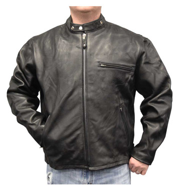 Redline Men's Quality Naked Cowhide Zip Front Leather Jacket, Black M-20 - Wisconsin Harley-Davidson