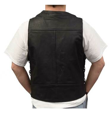Redline Leather Mens Leather Black Piping Motorcycle Riding Vest, Black M-2200BR - Wisconsin Harley-Davidson