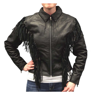 Redline Women's Mid-Weight Fringe Goat Leather Motorcycle Jacket, Black L-3225 - Wisconsin Harley-Davidson