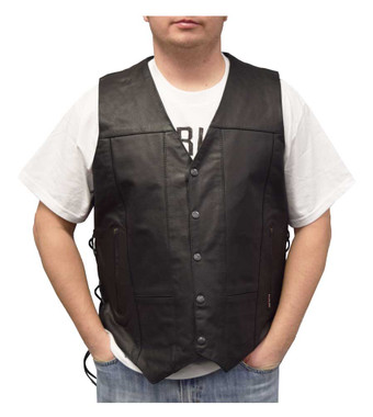 Redline Leather Men's Buffalo Leather 10 Pocket Motorcycle Vest, Black M-2240 - Wisconsin Harley-Davidson