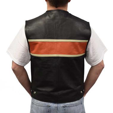 Redline Leather Men's Orange Stripe Leather Motorcycle Vest, Black M-3440 - Wisconsin Harley-Davidson