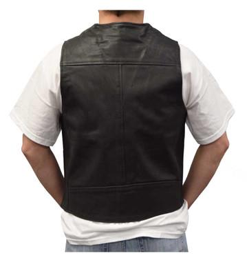 Redline Leather Men's Naked Leather Motorcycle Riding Vest, Black M-2200SD - Wisconsin Harley-Davidson
