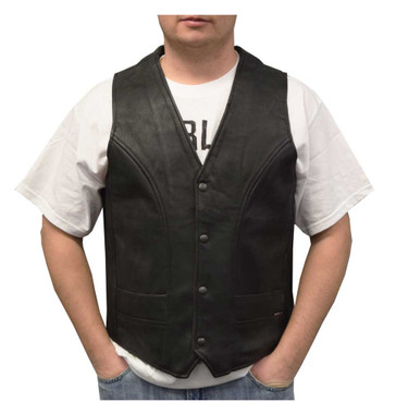 Redline Leather Men's Naked Leather Motorcycle Riding Vest, Black M-2200SD - Wisconsin Harley-Davidson