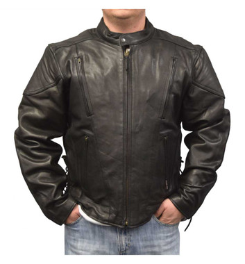 Redline Men's Cow Leather Touring Side-Lace Motorcycle Jacket, Black M-400 - Wisconsin Harley-Davidson