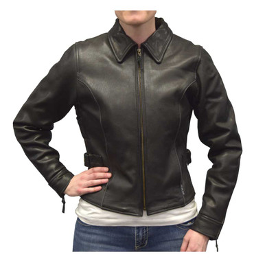 Redline Women's Goat Leather Black Reflective Piping Motorcycle Jacket L-3250BR - Wisconsin Harley-Davidson