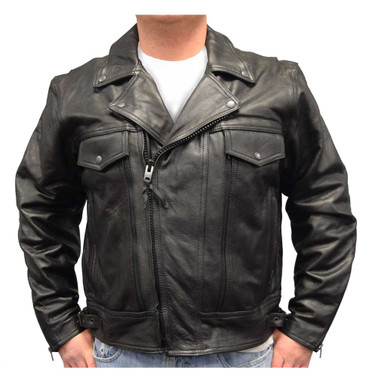 Redline Men's Leather Zipper Touring Motorcycle Riding Jacket, Black M-1050 - Wisconsin Harley-Davidson