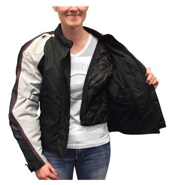 Redline Women's Body Armor Racing Colorblocked Nylon Jacket, Black L-2455 - Wisconsin Harley-Davidson