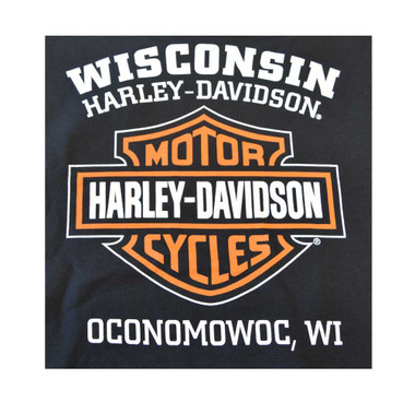 Harley-Davidson Mens Bar & Shield Long Sleeve Crew Neck Fleece Sweatshirt, Black - Wisconsin Harley-Davidson
