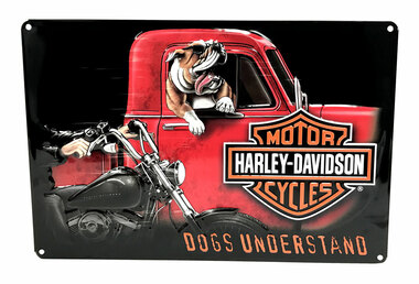 Harley-Davidson Dogs Understand Embossed Tin Sign, 10.5 x 16.5 inches 2011241 - Wisconsin Harley-Davidson