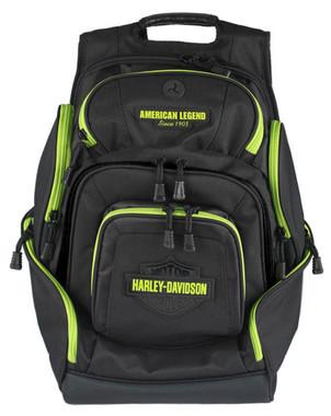 Harley-Davidson Sculpted Bar & Shield Lime Deluxe Backpack, Black BP2000S-LIMBLK - Wisconsin Harley-Davidson