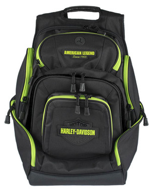 Harley-Davidson Sculpted Bar & Shield Lime Deluxe Backpack, Black BP2000S-LIMBLK - Wisconsin Harley-Davidson