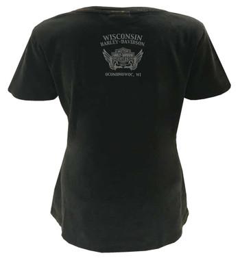 Harley-Davidson Womens Industry Embellished Genuine Short Sleeve Tee, Rust Black - Wisconsin Harley-Davidson