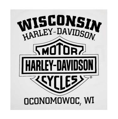 Harley-Davidson Men's Skull Badge Chest Pocket Long Sleeve Shirt, White - Wisconsin Harley-Davidson