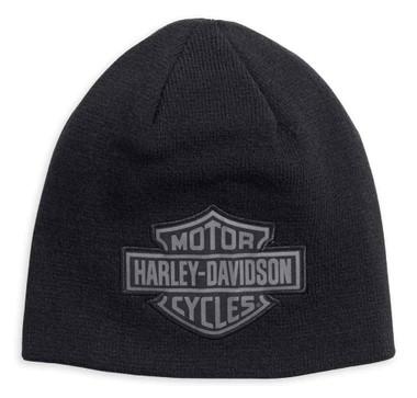 Harley-Davidson Men's Reversible Logo Knit Beanie Hat, Black 99493-17VM - Wisconsin Harley-Davidson
