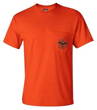 Harley-Davidson Men's Road Warrior Short Sleeve Chest Pocket T-Shirt, Tangerine - Wisconsin Harley-Davidson