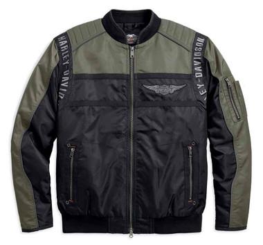 Harley-Davidson Men's Mainstreet Colorblocked Nylon Bomber Jacket 98583-17VM - Wisconsin Harley-Davidson