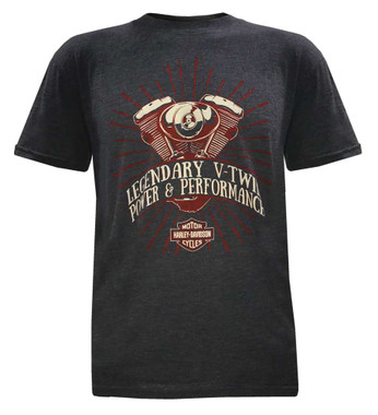 Harley-Davidson Men's Pure Power V-Twin Short Sleeve T-Shirt, Charcoal Gray - Wisconsin Harley-Davidson