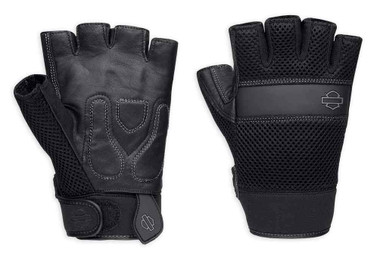 Harley-Davidson Men's Removable Pad Fingerless Gloves, Black 98376-17VM - Wisconsin Harley-Davidson