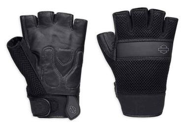 Harley-Davidson Men's Removable Pad Fingerless Gloves, Black 98376-17VM - Wisconsin Harley-Davidson
