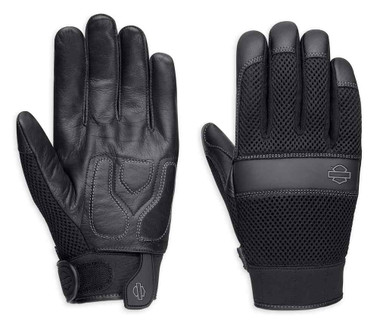 Harley-Davidson Men's Removable Pad Full-Finger Gloves, Black 98377-17VM - Wisconsin Harley-Davidson
