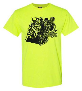 Harley-Davidson Men's Wrecking Crew Biker Short Sleeve T-Shirt, Safety Green - Wisconsin Harley-Davidson